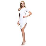 ts couture® prom cocktailparty kjole kappe / kolonne ene skulder knælang mat satin med side draperinger