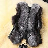 Uden ærmer Dame Ensfarvet Vinter Plusstørrelser Pelsfrakke,Imiteret pels
