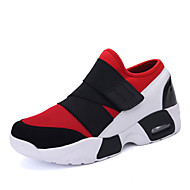 Women's Athletic Shoes Fall Mary Jane Tulle Casual Flat Heel Hook & Loop Black Black and Red Black and White Walking