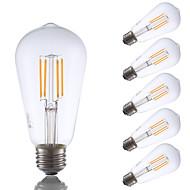 3.5 E26 LED-glödlampor ST19 4 COB 325 lm Varmvit Dimbar / Dekorativ AC 110-130 V 6 st