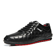 Men's Fashion Shoes Leather Shoes Casual Walking Shoes Flat Heel Lace-up Black / Blue / Red EU39-43