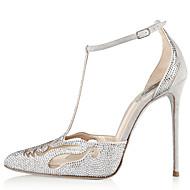 נשים-עקבים-סוויד-רצועת T נוחות נעלי מועדון-כסוף-חתונה-עקב סטילטו
