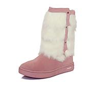 Para Meninas-Botas-Conforto Botas de Neve Botas da Moda-Rasteiro-Marrom Rosa Vermelho-Couro-Ar-Livre Casual