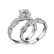 Ring AAA Cubic Zirconia Wedding / Party / Daily / Casual Jewelry Silver Plated Women Couple Rings / Engagement Ring 2pcs