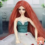 modepop haar lang kinky krullend medium kastanjebruin kleur 1/3 1/4 BJD sd dz pop pruik accessoires die niet voor menselijke volwassen