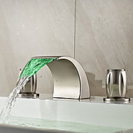 Country Widespread LED / Waterfall with  Ceramic Valve Two Handles Three Holes for  Nickel Brushed  Bathroom Sink Faucet