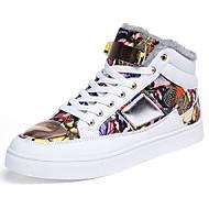 Kényelmes-Lapos-Női cipő-Tornacipők-Alkalmi-PU-Fekete Piros Fehér