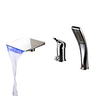 Zeitgenössisch Romanische Wanne LED / Wasserfall / Handdusche inklusive with  Keramisches Ventil Einhand Drei Löcher for  Chrom ,