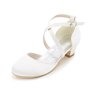 Girls' Heels Spring Summer Fall Light Up Shoes Silk Wedding Party & Evening Low Heel Sliver Red Blue Champagne Ivory