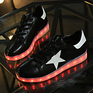 Unisex Sneakers Spring Fall Winter Ankle Strap Light Up Shoes Comfort Crib Shoes PU Outdoor Casual Athletic Flat Heel Lace-up Black White