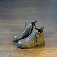 Fiú Csizmák Kényelmes Bőr Tél Alkalmi Gyalogló Közepesen magas szárú bakancs Fűző Talp Fekete Szürke 1 inch-1 3 / 4 inch