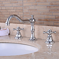 Contemporary Wall Mounted Waterfall with Ceramic Valve Two Handles Three Holes for Chrome , Bathtub Faucet