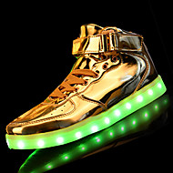 LED Light Up Shoes, Women's Sneakers Spring / Fall Comfort PU Casual Flat Heel Lace-up Silver / Gold Sneaker
