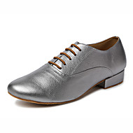 Non Customizable Men's Dance Shoes Leather Leather Latin / Jazz / Tap / Modern Heels Cuban Heel Professional / Performance Gray / Gold