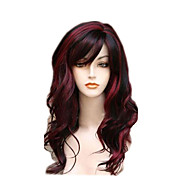 Fashion Daily Wearing Wig for Women Black mixed Red Wave Natural Heat Resistant Synthetic Wigs