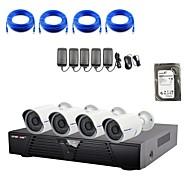caméra strongshine®ip avec / infrarouge / kits combo imperméables et 4CH H.264 NVR / 2tb surveillance hdd 1080p