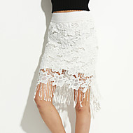 Women's Lace Cut Out Tassel Stretchy Thin Knee Length Skirts