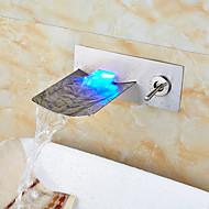 muro nichel spazzolato montato portato cascata lavandino rubinetto del bagno