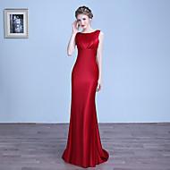 Formal Evening Dress - Sexy Sheath / Column Jewel Floor-length Stretch Satin with Pleats
