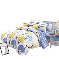 פרחוני סטי שמיכה 4 חלקים פוליאסטר דוגמא הדפסה תגובתית פוליאסטר זוגי / מלא / קווין 4 יחידות (1 כיסוי שמיכה, 2 כיסוי כרית, 1 סדין)
