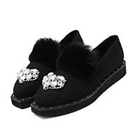 Women's Loafers & Slip-Ons Winter Fur Casual Flat Heel Black Gray