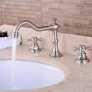 Contemporary Ceramic Valve Two Handles Three Holes for Chrome Bathtub Faucet / Bathroom Sink
