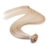 neitsi 16 '' 25g eurooppalainen ihmisen hiusten pidennykset suora mikrorenkaat u kynsien kärki Remy aaaaa laatu hiukset P18 / 613 #