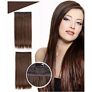 5 clipes no grampo de cabelo em cabelo sintético extensões 24inch 120g / resistência pc alta temperatura # 1jet cor preta