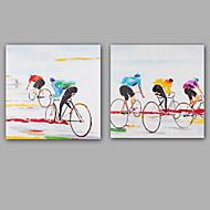 Pintados à mão Abstracto / Pessoas Pinturas a óleo,Modern / Realismo 2 Painéis Tela Hang-painted pintura a óleo For Decoração para casa