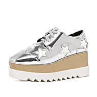 Women's Sneakers Platform Comfort Leather PU Outdoor Office & Career Dress Casual Party & Evening Platform Lace-up Black Silver
