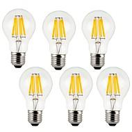 7w e26 / e27 led filamentpærer a60 (a19) 8cob 760lm varm hvid / kølig hvid ac 220-240 v 6 stk