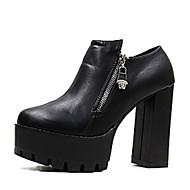 Støvler-PU-Andre-Dame-Sort Grå-Fritid-Tyk hæl