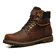Men's Boots Winter Comfort Leather Outdoor Office & Career Casual Flat Heel Others Brown Yellow Other
