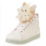 Feminino-Tênis-Sapatos de Berço Tira no Tornozelo Light Up Shoes Conforto-Rasteiro-Branco-Couro Ecológico-Casual Para Esporte