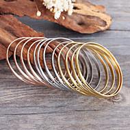 Feminino Bracelete Aço Inoxidável Estilo Boêmio Moda Dourado Jóias 1 Conjunto