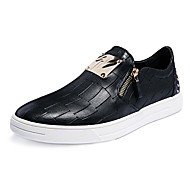 Men's Loafers & Slip-Ons Fall Comfort Leather Casual Flat Heel Zipper Black Others