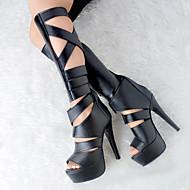 נשים-סנדלים-דמוי עור-נעליים ותיקים תואמים-שחור-קז'ואל / מסיבה וערב-עקב סטילטו