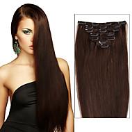 plná hlava klip v lidské vlasy extensions.70grams&120 gramů hmotnosti (7ks / set&8ks / set) hedvábně rovné Brazilský panenské