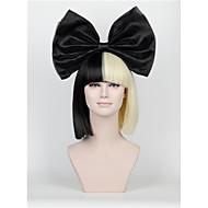 nytt kort avsnitt hår baugen satt lange smell halvparten svarte halv blonde sia styling fest parykker high - end mesh svart stor bue