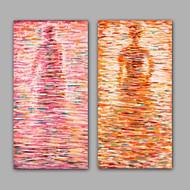 Ručně malované Abstraktní / Lidé olejomalby,Moderní / Klasický Dva panely Plátno Hang-malované olejomalba For Home dekorace