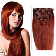 klip v lidských prodlužování vlasů 70g -120g brazilský panenský vlasy klip v prodloužení rovnými lidskými vlasy klip moduly pro černé