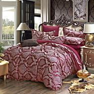 bedtoppings 4pcs mis queen 1 couette couverture couette couette / 1 feuille plate / 2 taie en coton jacquard à motif riche mélange poly