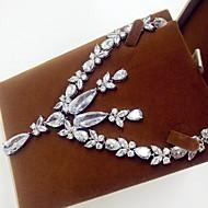 Bijoux Colliers décoratifs Boucles d'oreille Soirée Zircon 1set Femme Argent Cadeaux de mariage
