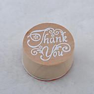 старинные цветочным узором слово круглый деревянный штамп (спасибо)