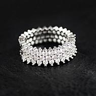 Κρίκοι Στρας Γάμου Πάρτι Causal Κοσμήματα Ασήμι Στερλίνας Στρας Γυναικεία Δαχτυλίδι 1pc,6 7 8 9 10 Ασημί
