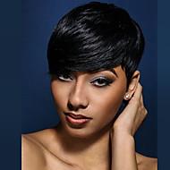 Femme Perruques capless à cheveux humains Noir Blond Fraise / Blond Platine Court Ondulation Naturelle Coupe Lutin Avec Frange Perruque