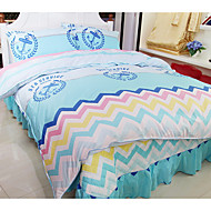 Novelty 4 Piece Cotton Reactive Print Cotton 1pc Duvet Cover 2pcs Shams 1pc Flat Sheet
