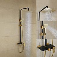 ארט דקו / רטרו מערכת למקלחת מקלחת גשם with  שסתום קרמי שתי ידיות שלושה חורים for  צביעה , ברז למקלחת