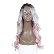l de piel sintética parte pelucas raíz negro con el color rosa suelta la onda pelo ombre