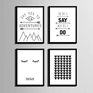 Palavras e Citações Quadros Emoldurados Conjunto Emoldurado Wall Art,PVC Material Preto Sem Cartolina de Passepartout com frame For